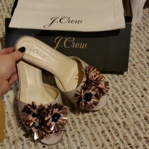 J.Crew Satin Slides w/floral embellishments